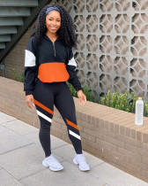 Casual Patchwork Long Sleeve Sports Two Piece Sets LM-8189