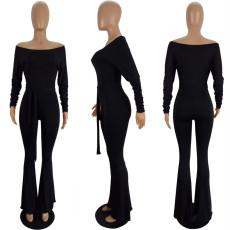 Sexy Slim Off Shoulder Long Sleeve Solid Color Jumpsuit With Belt LSL-6384