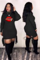 Plus Size Lips Print Long Sleeve Mini Dress SHA-6176