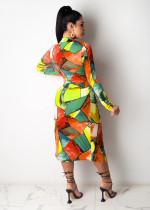 Sexy Printed High Split Lace Up Midi Dress MGF-1027