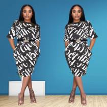 Trendy Short Sleeve Print Dress MGF-1006