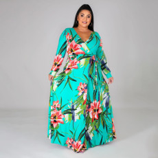 Plus Size Floral Print V Neck Split Maxi Dress ONY-5060
