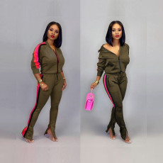 Casual Sportswear Zipper Jacket Long Pants 2 Piece Sets SH-695