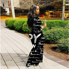 Fashion Trend Letter Print Long Sleeve Slim Fit Long Dress ABF-6610