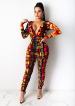 Sexy Printed Deep V Neck Long Sleeve Jumpsuits SHD-9434