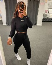 Solid Long Sleeve Tight Two Piece Pants Set HMS-5371