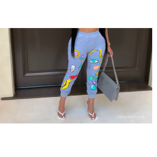 Plus Size Fashion Casual Cartoon Print Pants BLI-2159