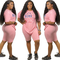 Letter Print T Shirt And Shorts Two Piece Sets WAF-7053