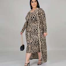 Plus Size Leopard Tank Dress+Long Coat 2 Piece Dress Without Belt ONY-5059