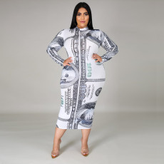 Plus Size Dollar Print Long Sleeve Zipper Midi Dress ONY-5058