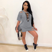 Plus Size Solid Color Sexy Lace Up Ripped Hole Short Sleeve Mini Dress SHE-7214
