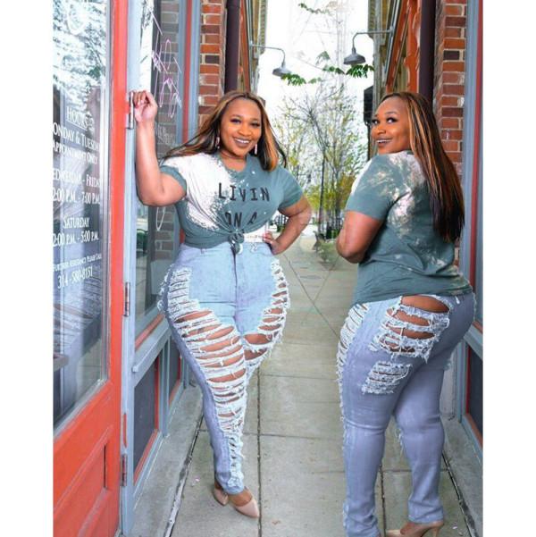 Plus Size 5XL Denim Ripped Hole Jeans Pencil Pants HSF-2328