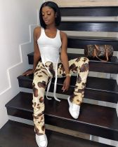 Casual Leopard Print Long Stacked Pants CYAO-8013