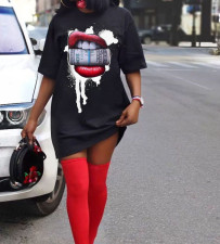 Plus Size Lips Print O Neck Short Sleeve T Shirt Dress WAF-7055
