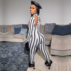 Sexy Striped Long Sleeve Slim Fit Jumpsuits YD-8285