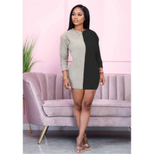 Plus Size 4XL Sexy Contrast Color Splice Long Sleeve Dress YIY-5213