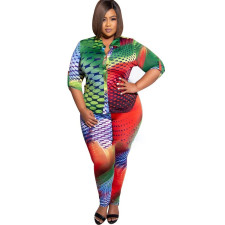 Plus Size Printed 3/4 Sleeves Blouse And Pants Set CYA-1212