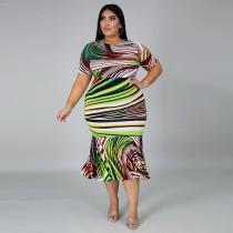 Plus Size 5XL Printed Short Sleeve Mermaid Midi Dress CYA-1250