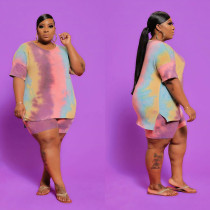Plus Size 5XL Tie Dye T Shirt Shorts 2 Piece Sets CYA-1276