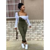 Fashion Casual Solid Color Stacked Overalls Jumpsuits LP-6220-1