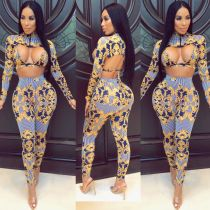 Fashion Sexy Print Long Sleeve Pants Club Party Three Piece Set CHY-1089