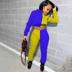 Contrast Color Hoodies Sweatpants Two Piece Sets MUL-143