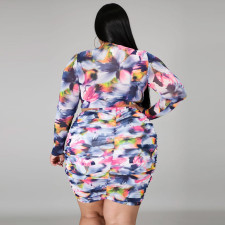 Plus Size 5XL Printed Top And Sexy Short Skirt Two Piece Set CYA-1284