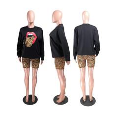 Leopard Lips Print Long Sleeve Two Piece Shorts Set ZKF-1019