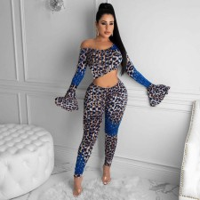 Plus Size Leopard Flare Sleeve Two Piece Sets MTY-6329