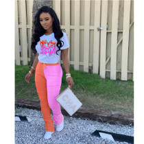 Casual T Shirt And Stacked Pants Two Piece Set ZKF-1025