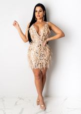Sequin Ostrich Feather Nightclub Party Sexy Strap Dress CYA-8190