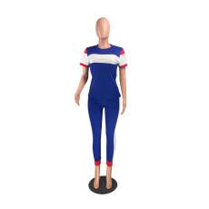 Casual Patchwork T Shirt Long Pants 2 Piece Sets ZKF-1008