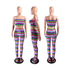 Colorful Stripe Off Shoulder Sexy Two Piece Pants Set ZKF-1020