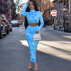 Tie Dye Long Sleeve Ruched Long Skirt 2 Piece Sets ZKF-1021