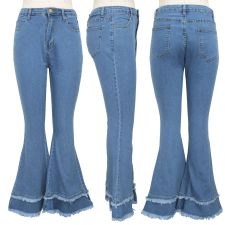 Plus Size Denim Skinny Flared Jeans Pants HSF-2244