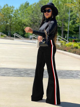 Casual Side Striped Long Flared Pants MA-368