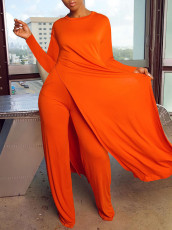 Solid Full Sleeve Split Hem Two Piece Pants Set MA-373