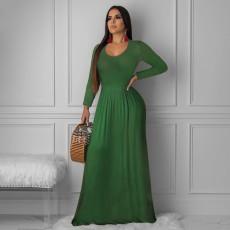 Solid Long Sleeve O Neck Maxi Dress PN-6234