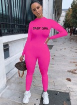 Solid Color Casual Long Sleeve Letter Sporty Jumpsuit QZX-6162