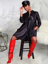 PU Leather Long Sleeves Loose Dress HMS-5182