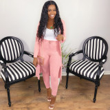 Solid Color Casual Sexy Rib Cardigans And Pants Two Piece Set LQ-5881