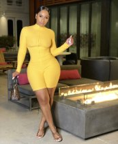 Solid Rib Long Sleeve Zipper Bodycon Rompers AIL-122