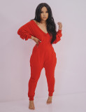 Solid Casual V Neck Long Sleeve Jumpsuits AIL-124