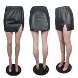 Sexy Solid Color Split Leather Mini Skirt ABF-6615