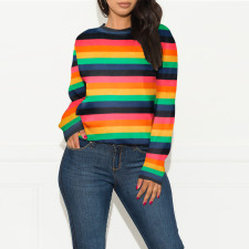 Colorful Stripe O Neck Long Sleeves Sweater Tops SH-3879