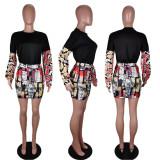 Trendy Printed Long Sleeve Mini Skirt 2 Piece Sets AWF-0027