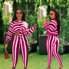 Striped Oblique Shoulder Long Sleeve 2 Piece Sets YFS-807