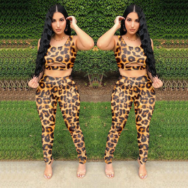 Sexy Leopard Tank Tops Stacked Pants 2 Piece Sets LLF-8815