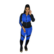 Plus Size Hooded Zipper Long Sleeve Two Piece Sets CQ-065