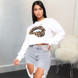 Plus Size Lips Print Casual O Neck Sweatshirt LLF-8814